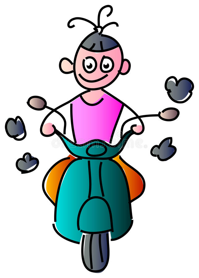 Girl riding scooter stock illustration