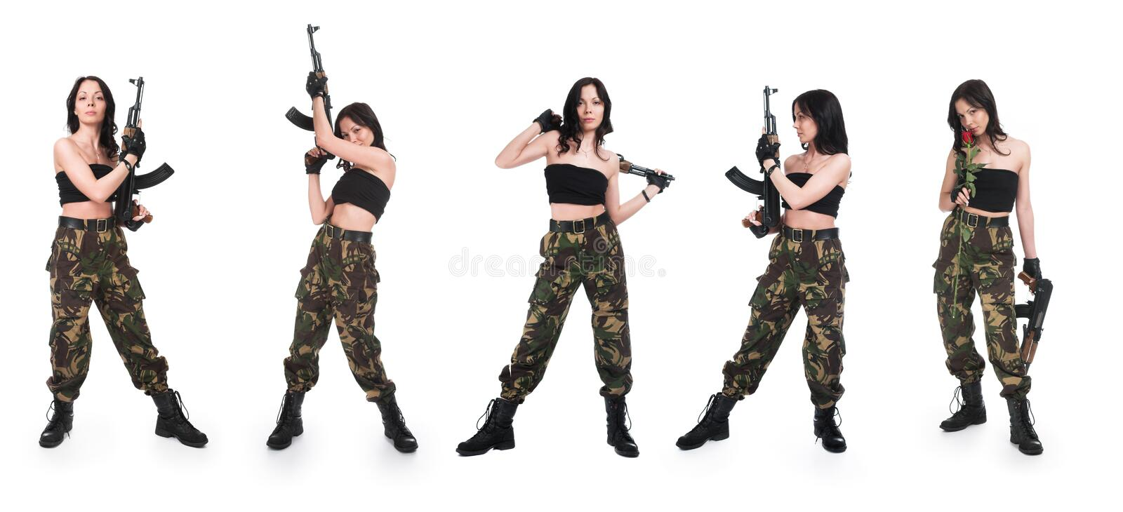 Download The girl with rifle AK stock photo. Image of background - 18234494