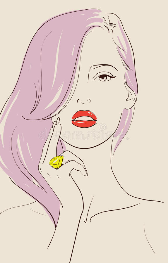 Girl with ring. Beautiful woman wearing jewelry ring royalty free illustration