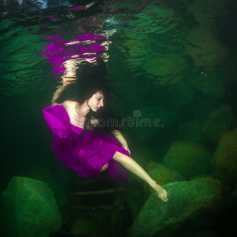 Girl in a river royalty free stock photos
