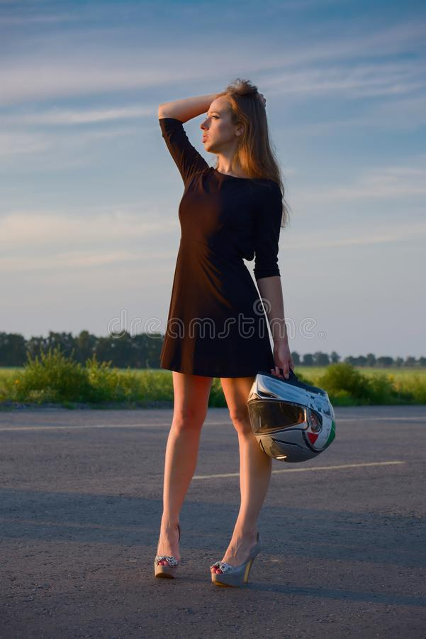 Girl on the road royalty free stock photos