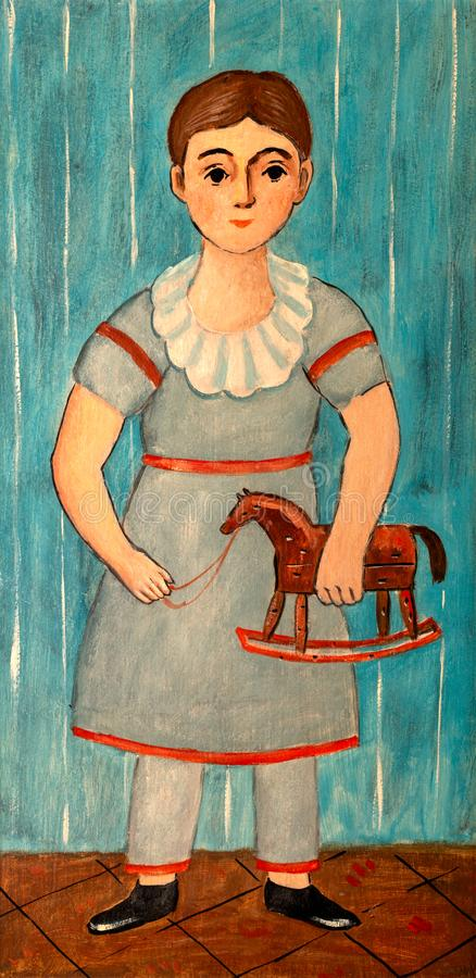 Girl with Rocking Toy Horse Painting royalty free illustration