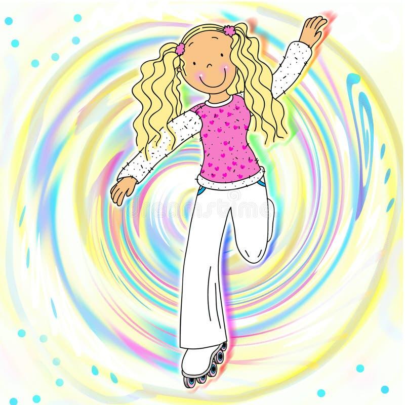 A Girl On Roller Skates. A Pretty Girl On Roller Skates, Showing Us Her Moves vector illustration