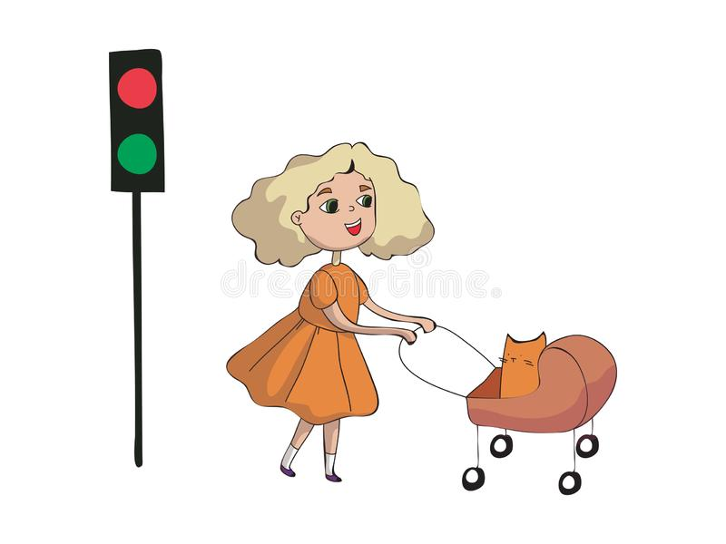 Girl rolls a cat in a stroller. Vector illustration on white background. royalty free illustration