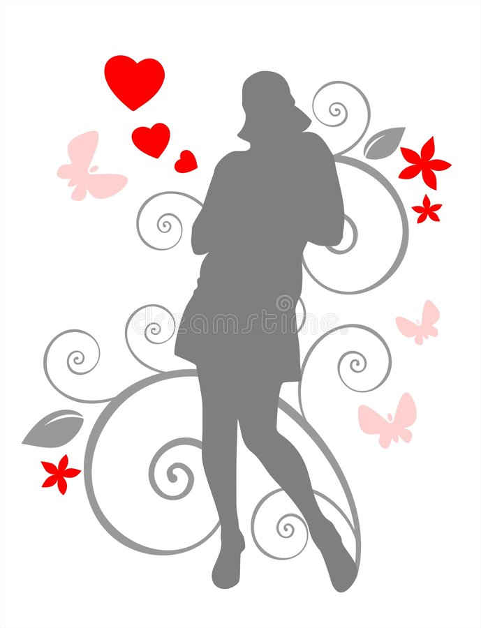 Girl and romantic pattern royalty free illustration