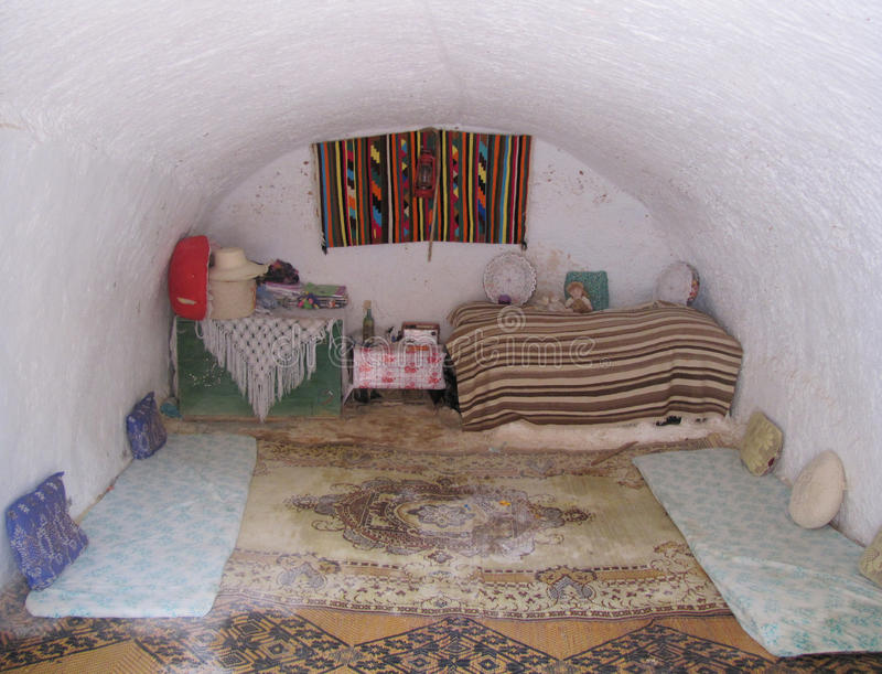 Girl room troglodyte house Tunisia royalty free stock image