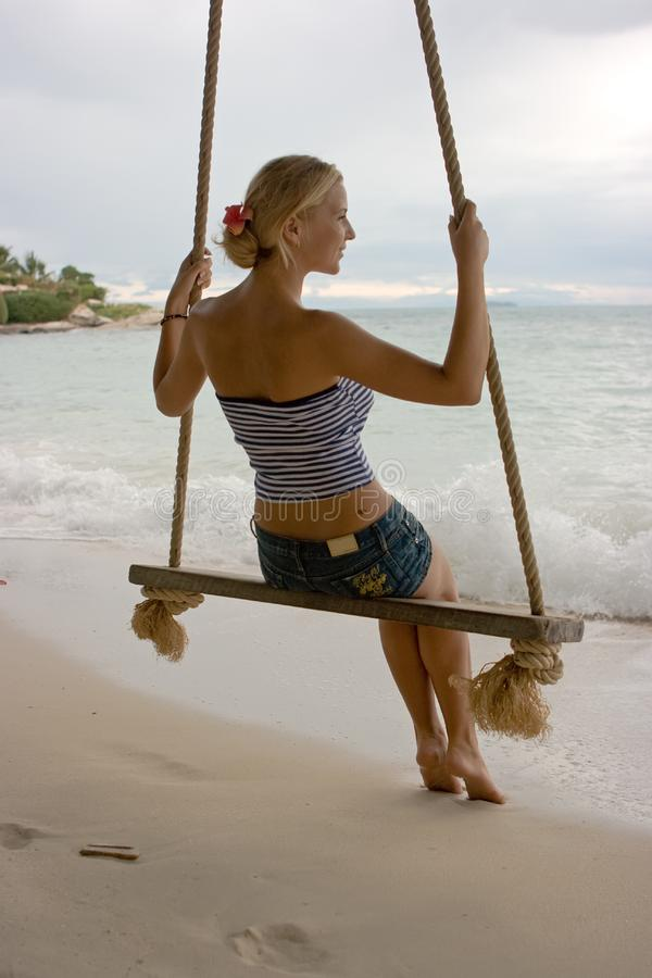 Download Girl on rope swings stock image. Image of cute, attractive - 8099851