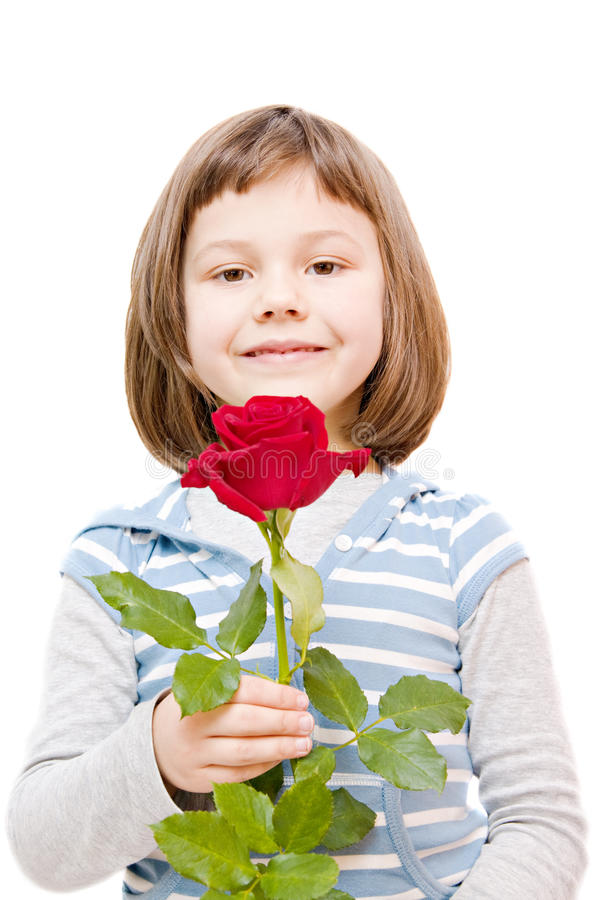 Girl with a rose stock photos