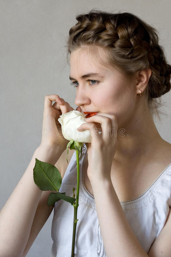 Girl And Rose Royalty Free Stock Images