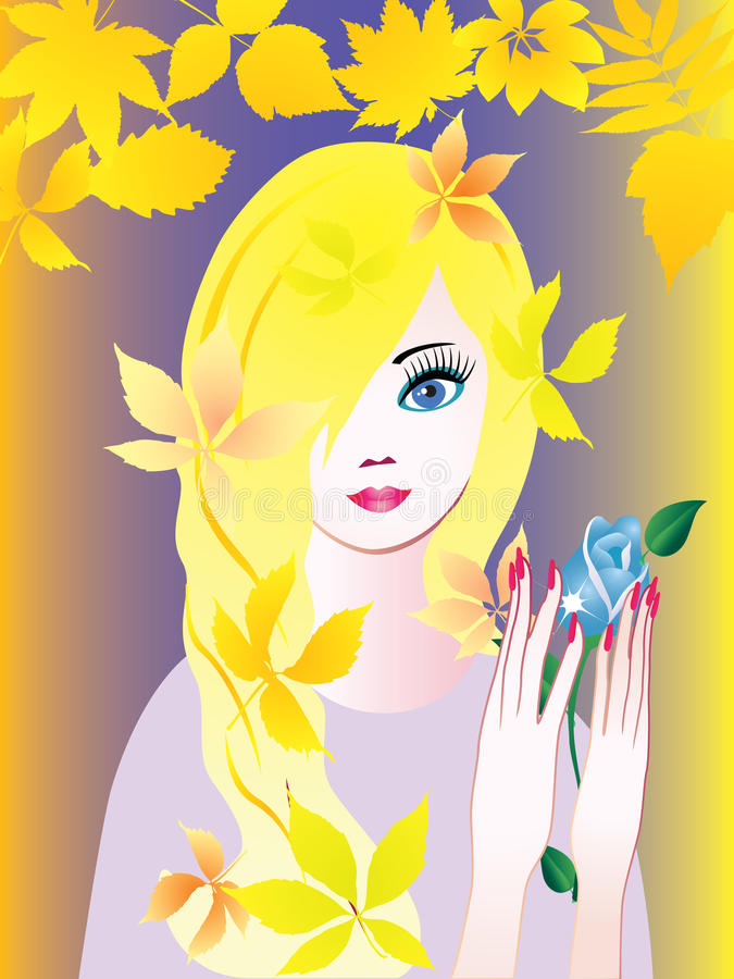 Download Girl with Rose. stock vector. Image of beauty, flower - 21015469
