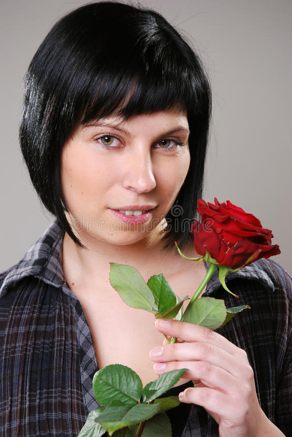 Download Girl with rose stock photo. Image of female, dreaming - 24257376