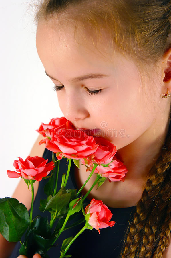 Download Girl with a rose stock image. Image of beautiful, poses - 24837011