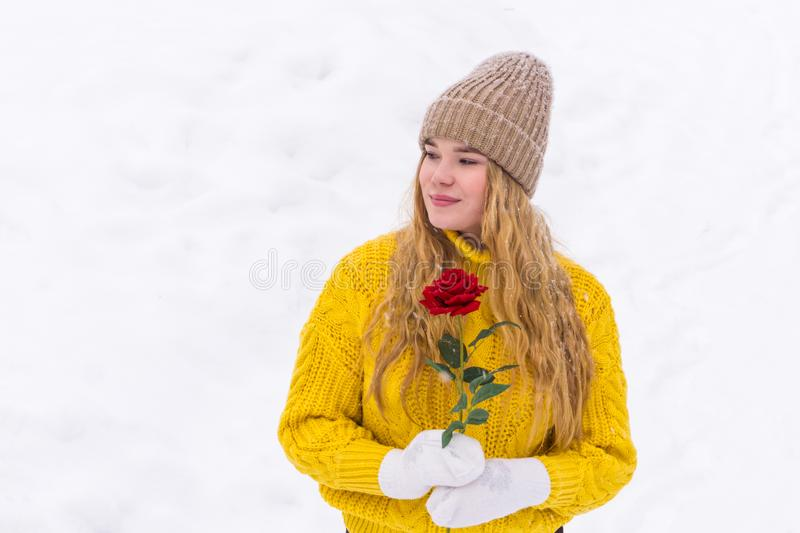 Girl with a rose on the background of snow stock image