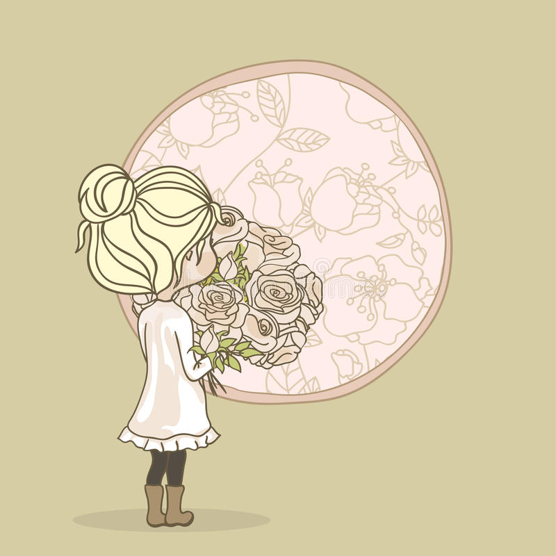 Girl with rose bouquet. Girl with bouquet of roses standing in front of window royalty free illustration