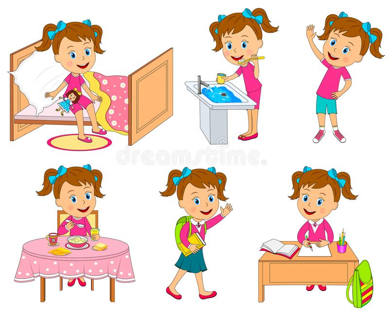 Girl daily routine. Kids, little girl daily routine, activity ,illustration,vector vector illustration