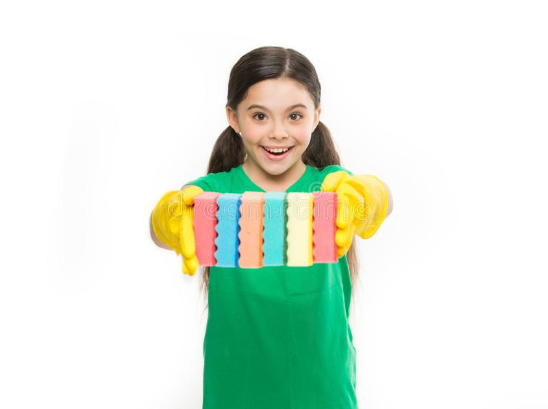 Girl in rubber gloves for cleaning hold many colorful sponges white background. Help clean up. Accessory for cleaning stock image