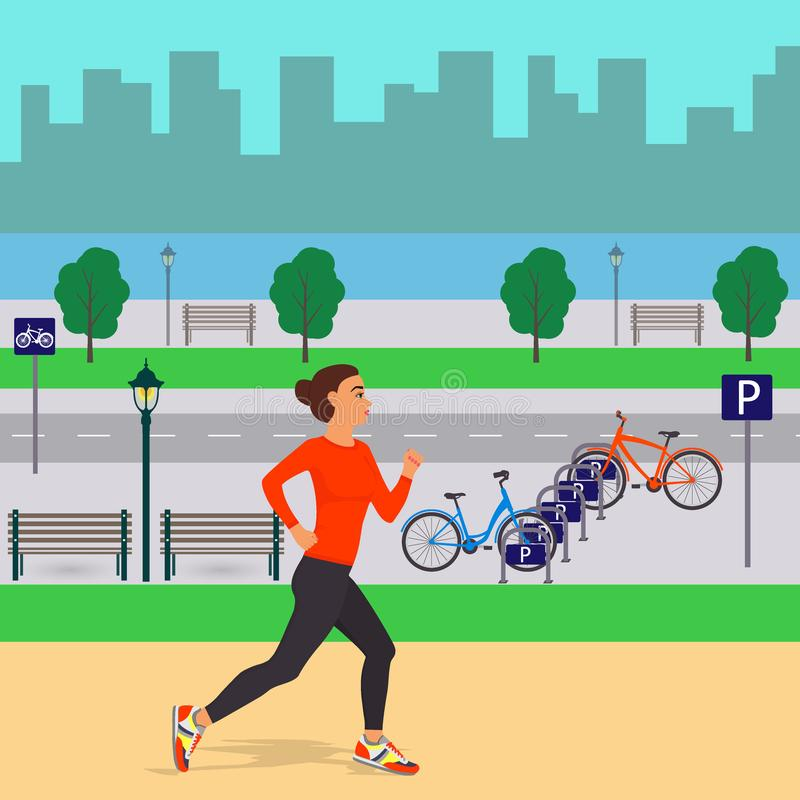 Girl runing on the background of beautiful city scenery. Jogging woman in the city. Street, trees, silhouettes of buildings, bench stock illustration