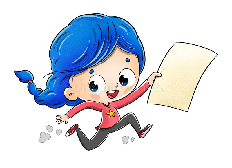 Girl running around with a paper announcing something urgent. royalty free stock image