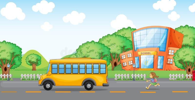 Download Girl Running Behind School Bus Stock Vector - Image: 33098190