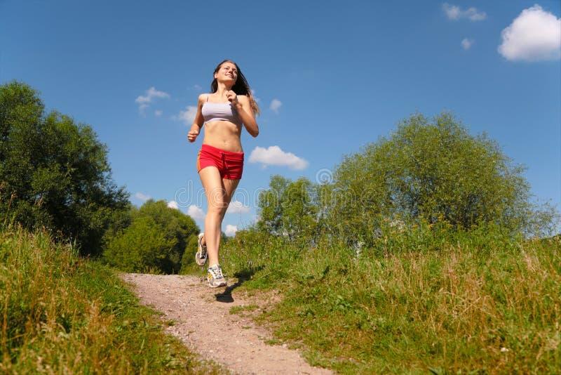 Girl running forest. Girl running in forest, summer stock images