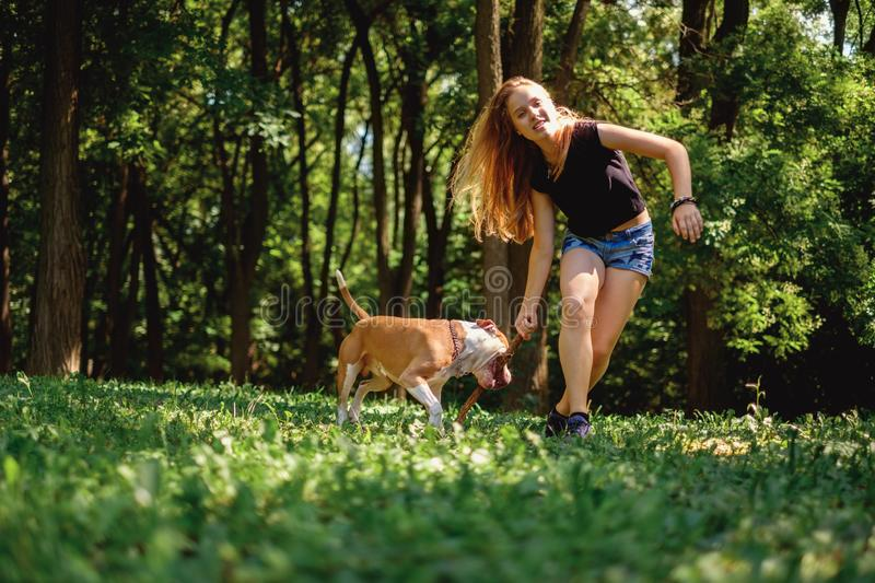 Girl running and holding a stick with her dog stock photos