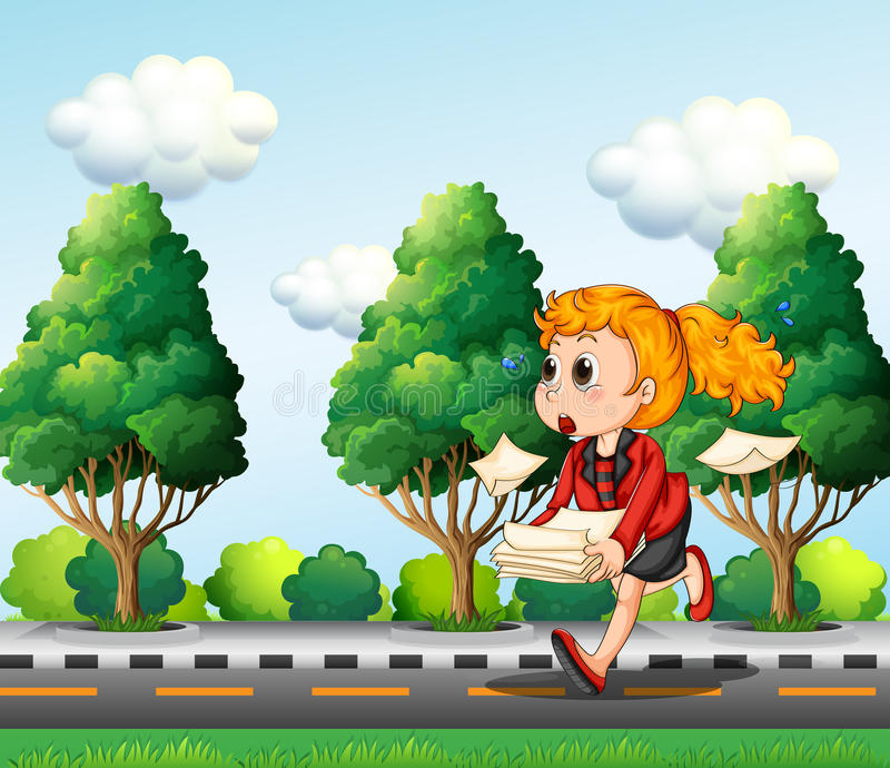 A Girl Running Hurriedly While Carrying A Pile Of Papers Royalty Free Stock Images
