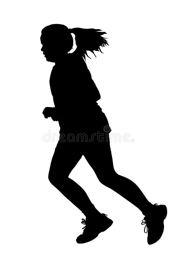Girl Running Silhouette stock photo