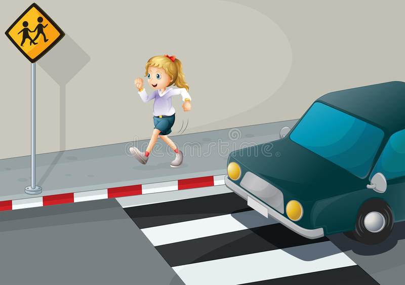 Download A Girl Running At The Streetside Stock Illustration - Illustration of diamond, mobile: 33909114