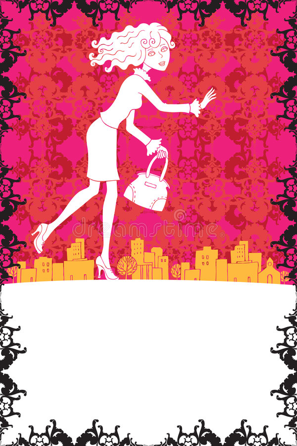 Download Girl Running To The Sale Banner/white Stock Illustration - Image: 7013190