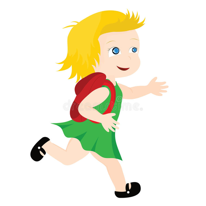Girl running to school. To be used as education, designs, kids and fun stuff royalty free illustration