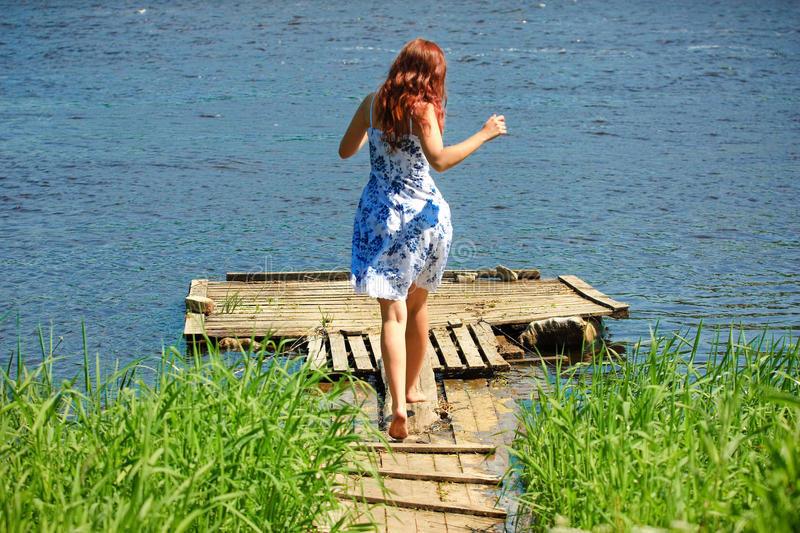 Download Girl Running Towards The River Stock Photo - Image: 19891608