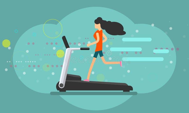Girl running on treadmill trendy color flat style banner. Vector illustration. Girl running on treadmill trendy color flat style banner. Modern Vector royalty free illustration