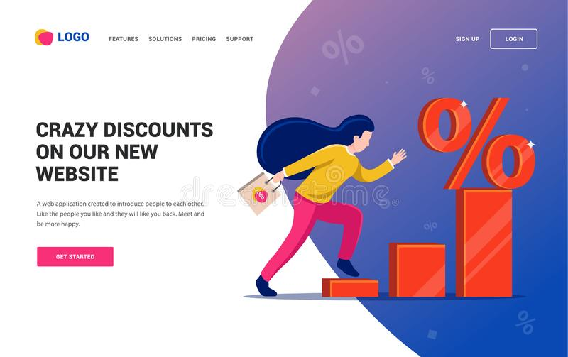 Girl runs the diagram to the discount symbol. Web site. Character vector illustration stock illustration