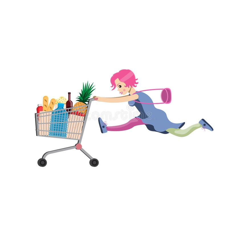 The girl runs with a grocery cart and a bag. Cartoon humor style. Vector illustration royalty free illustration