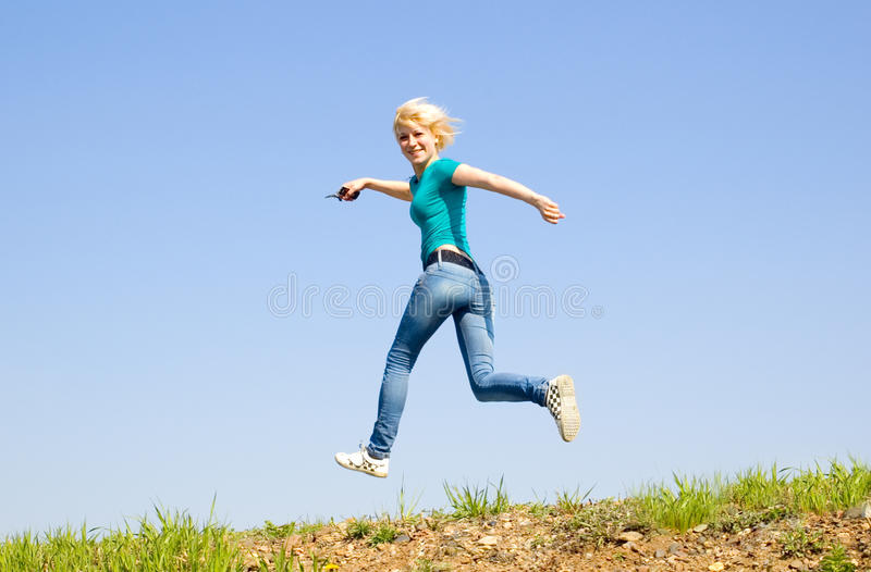 Download Girl runs on the road stock photo. Image of around, runs - 14516318