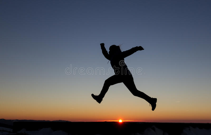 Download Girl runs in sunset stock image. Image of silhouette - 36686271