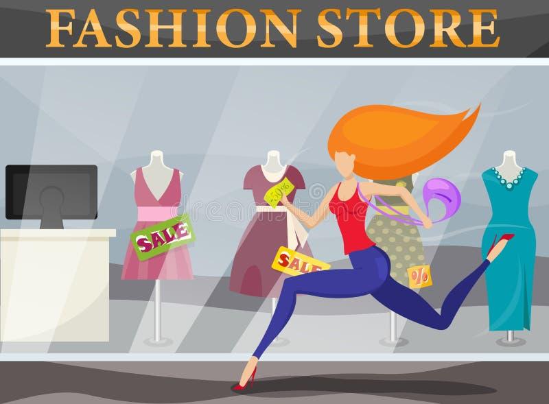 Girl runs to the store stock photo