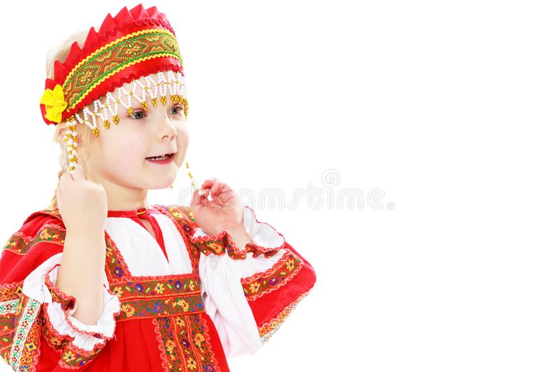 Girl in Russian national costume. stock photos