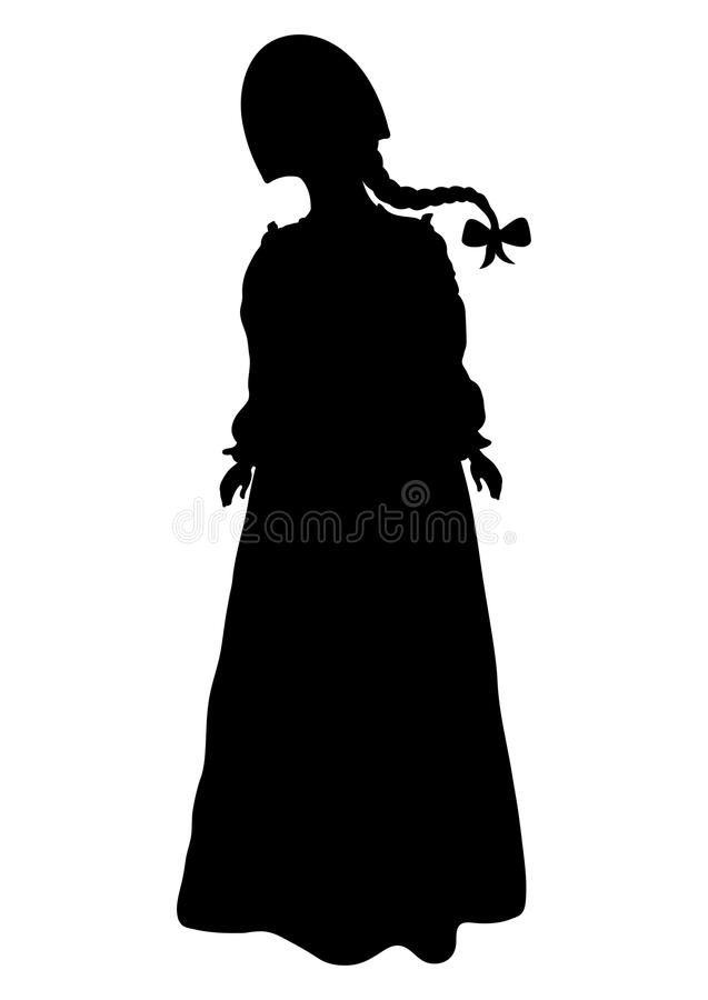 Girl in Russian national costume silhouette, vector outline portrait, black and white contour drawing. Woman full-length in russia. N folk dress and kokoshnike vector illustration
