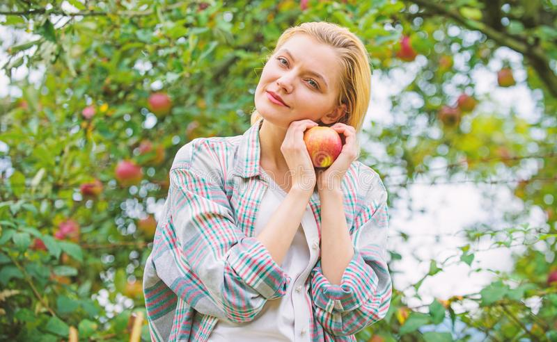 Girl rustic style gather harvest garden autumn day. Farmer pretty blonde with appetite red apple. Harvesting season. Concept. Woman hold apple garden background royalty free stock photo