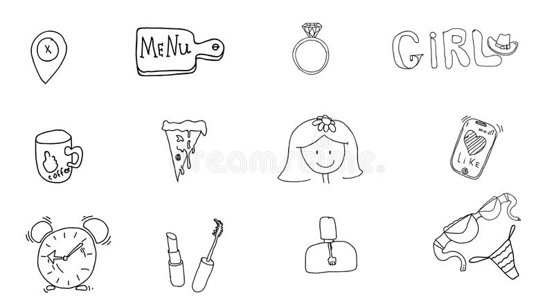 Girl`s accessories. Girl signs and symbols. Hand drawn doodle vector set for girls. Modern princess icons. Girlish set. Isolated vector illustration