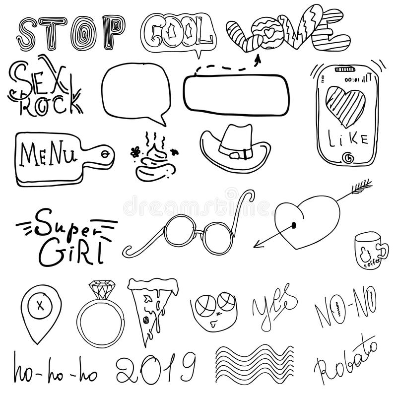 Girl`s accessories. Girl signs and symbols. Hand drawn doodle vector set for girls. Modern princess icons. Girlish set. Isolated stock illustration