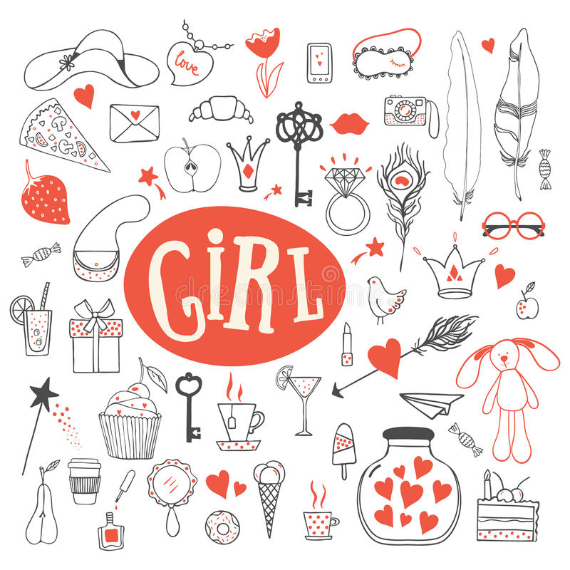 Girl's accessories. Girl signs and symbols. Hand drawn doodle vector set for girls. Modern princess icons. Girlish set. vector objects. Collection of girl's royalty free illustration