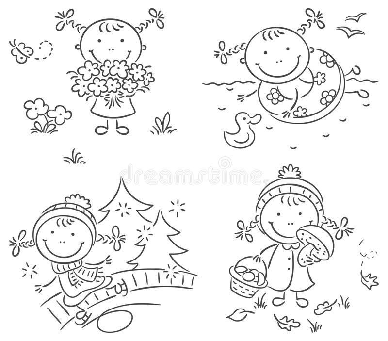 Girl's activities during the four seasons stock illustration