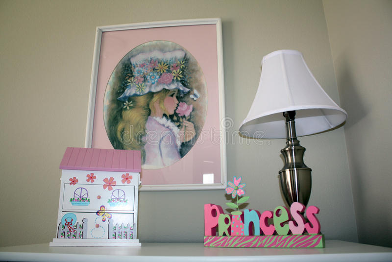 Girl's bedroom dresser stock images