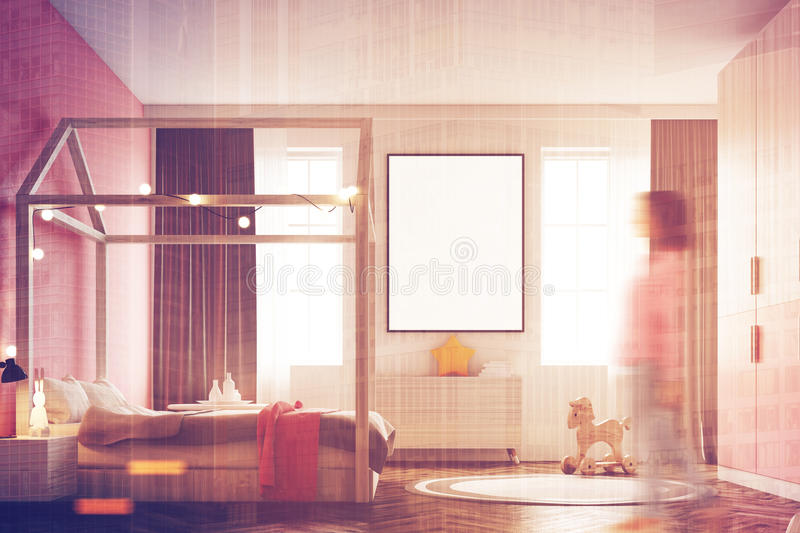 Girl s bedroom interior, poster, side, woman stock photography