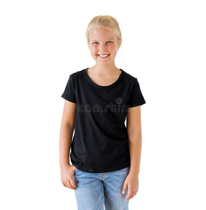 Free Girl`s Black T-shirt Mockup Template Royalty Free Stock Photos - 136595778