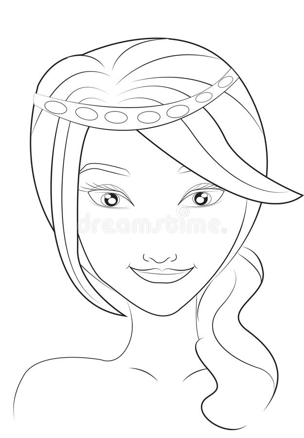 Girls face coloring page stock illustration Illustration of