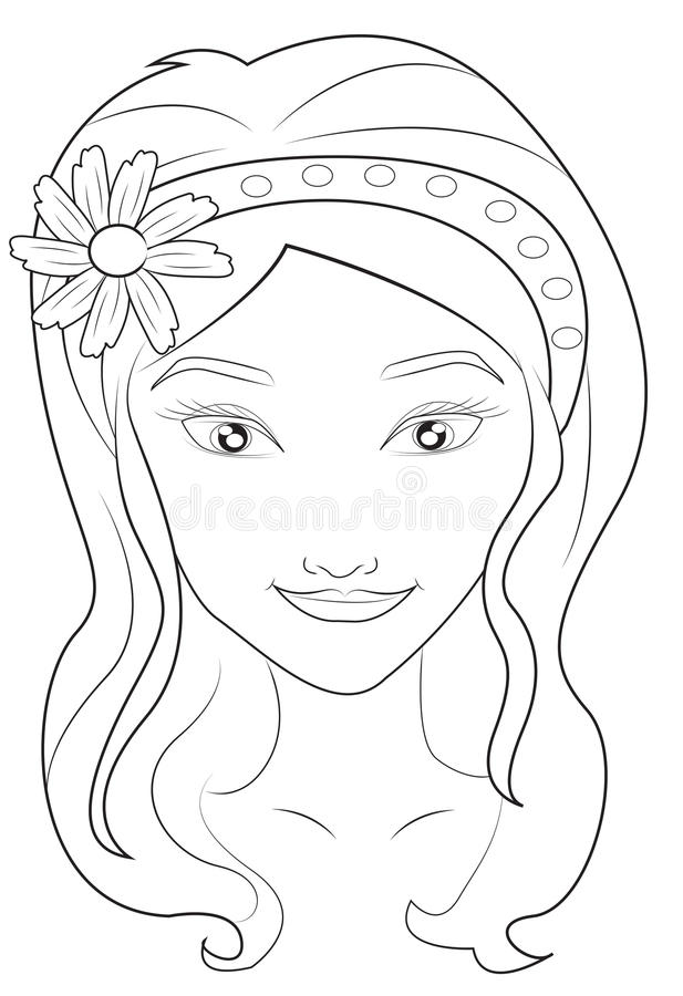 Girls face coloring page stock illustration Illustration of design