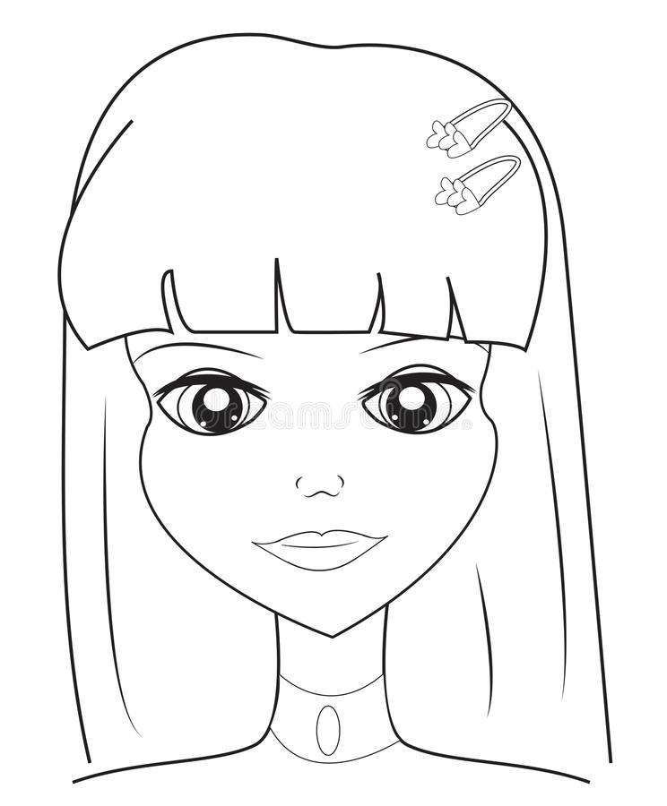 Girls face coloring page stock illustration Illustration of comic